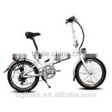 20 inch Mini folding Electric Bike consealed lithium battery ebike with disc Brake white color