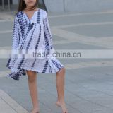 Boho Chic Tye Dye Fall Kids Cotton Frocks Dress Design Boutique Girl Clothing Children Frock Model HSd5036