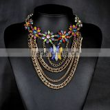 Multilayer out chain with multicolor rhinestone women necklaces