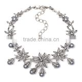 Big brand new design grey imitation pearls diamond alloy necklace jewelry