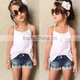 TOP SALE STYLE CAMISOLE &DENIM SHORTS SETS GIRLS CLOTHING SETS