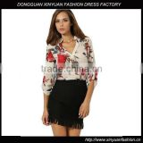 Floral Printed ladies V Neck High Low Hem Blouse chiffon blouse top
