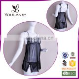 Factory Direct Sale Elegant Spandex Super Black Girls Nighty Sexy Wear Lingerie