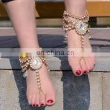 Luxury Full of Crystal Bridal Barefoot Sandals Toe Ring Anklet Ankle Bracelet