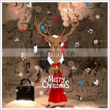Cartoon Christmas Reindeer PVC Wall Stickers Children