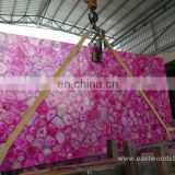 Luxurious Semiprecious Backlit Pink Agate Stone Slab