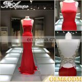 Modest Red backless Evening Dress Celebrity Dress