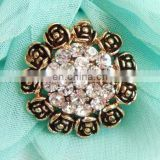 2013 fashion rhinestone rose flower button invitation card button garment accessory