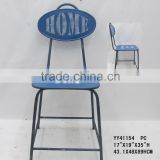 Blue metal back chair letter printing,blue metal side chairs