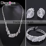 New Model China Wholesale Rhodium Plated Cubic Zirconia Bridal Indian Jewelry Set