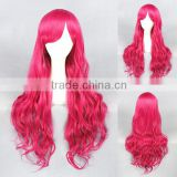 wholesale 80CM long wave Rose Red Lolita women fashion synthetic cosplay wig