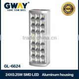 Bright rechargeable emergency light with 24pcs 5050SMD LED,aluminum housing led for camping,use battery charging