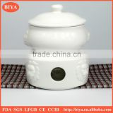 self heating pan Lion head shape soup pot with lid and candle stove,ceramic soup bowl with cover and stand hotel restaurant