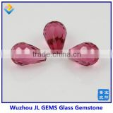 Imitation Pink Color Teardrop Checker Cut Glass Drill for Jewelry Stone