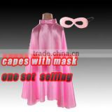 2016 fashion light pink kis cloak with mask,party girls colorful capes one layer,costume capes masks