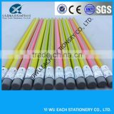 promotional black wooden drawing pencil with black eraser yiwu pencil factories,pencils with logo