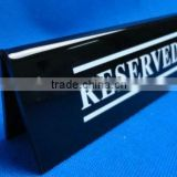 custom folding double sides desktop plastic table card acrylic menu sign display stand with printed logo
