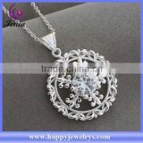 High quality hot selling round pendant 925 silver plated cheap price charm necklace (AN1036)