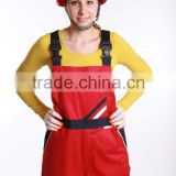 100% Cotton Fashion Red Workwear Safety Bib-Pants/Apparels with Mutiple Pockets