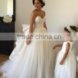 Princess Lace Attachable Sleeves Sweetheart Wedding Gown Puffy Gown for Bride Low Back