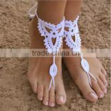 Crochet Barefoot Sandals Beach Wedding Yoga Shoes Foot Jewelry White