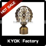 KYOK 2016 fancy decorative stretch curtain rods accessories,spray paint technology aluminum zinc curtain rod finial