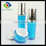 1 oz luxury cosmetic packaging,blue acrylic clear bottle with silver lid