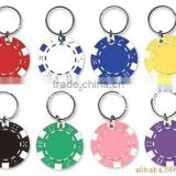 Hot selling wholesale promotional gift custom made clay poker chip keychain with muiticolors