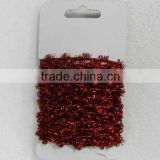 HOT SALE Red Metallic Sparkle Tinsel Rubber Elastic Ribbon Cord for Present Package Decorations