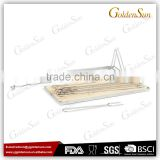 Stainless Steel Skewer Rack Skewer Station with Rubber Wood Board
