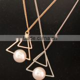 Beauty gold long Chain Necklace with a Pearl on Triangle