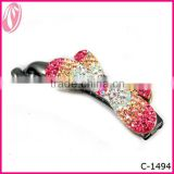Wholesale sweet bowknot fancy rhinestone Plastic Diamond Bowknot Hair Clip Barrette For Girls