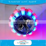 Top sale 4500LM LED projector lens with halo for Motorbike, colorful angel eyes projector lens