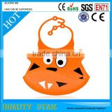 Wholesale Cute Food Grade Waterproof Big Pocket Baby Bib Soft Silicone Baby Bib With Openning Food Catcher
