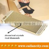 Factory sale directly custom cell phone housing 24kt gold with diamonds for iPhone 6 6s plus