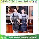 New Design Restaurant Staff Cross Back Bib Apron Cotton Denim Kitchen Apron With three Pocket