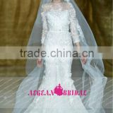R13619 2013 Barcelona summer 3/4 sleeves Princess mermaid wedding dress