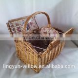 2 persons Folk Art Style and Basket Product Type willow hamper picnic basket with ice/cooler bag