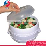 2 Tier Microwave Chinese Rice Noodle Portable Bun Vegetable Food Steamer