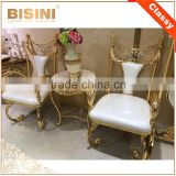 Luxury Italy Baroque Collection Brass 18/24K Gilded Armchair/Louis XV Royal Golden White Leather Decorative Side Chair, MOQ 1 PC