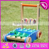 2017 New design cartoon crocodile wooden push along toys for toddlers W16E059