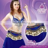 3 rows of wavy coins belly dancing belt hip scarf with gems on top