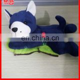 Novelty winter hand warmer custom plush animal rechargeable hot water bag plush dog electric hot water bag