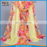 Wholesale legant Multicolor yellow one layer silk for autumnand spring cheap scarves