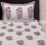 Cotton Hand Block Print Bed Sheet Set, Queen Size Throw Bed Speared 2 Pillow Set