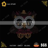 The latest design cute owl hot fix korean rhinestone motif