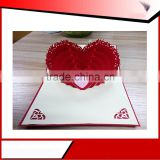 2016 hot sale wholesale heart shaped wedding invitation greeting card/3d greeting card
