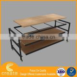 2016 Shop display counter table design with wooden grain melamine finish,disassembly packing