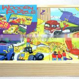 4*28 pieces Engineering Vehicles puzzles, educational puzzles, 112 pieces wooden puzzles, wooden Jigsaw puzzles
