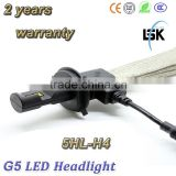 New product !!! G5 LED headlight 6000LM hi /lo beam H4, H13, 9004, 9007 12v-24v led philip lights bulb